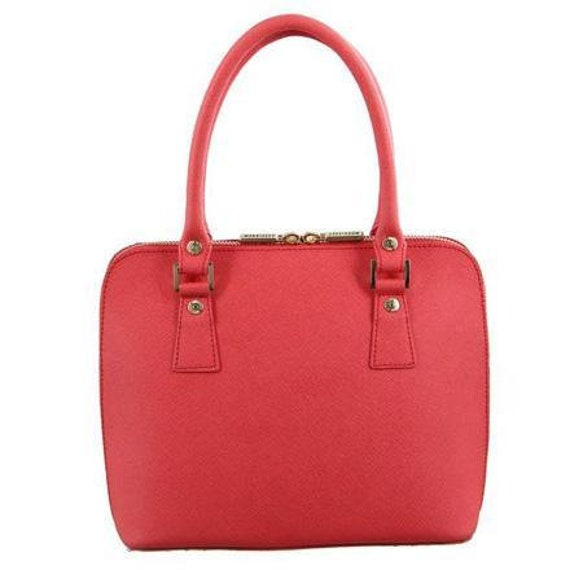 Brand new with tags Morrissey Italian structured coral leather tote handbag