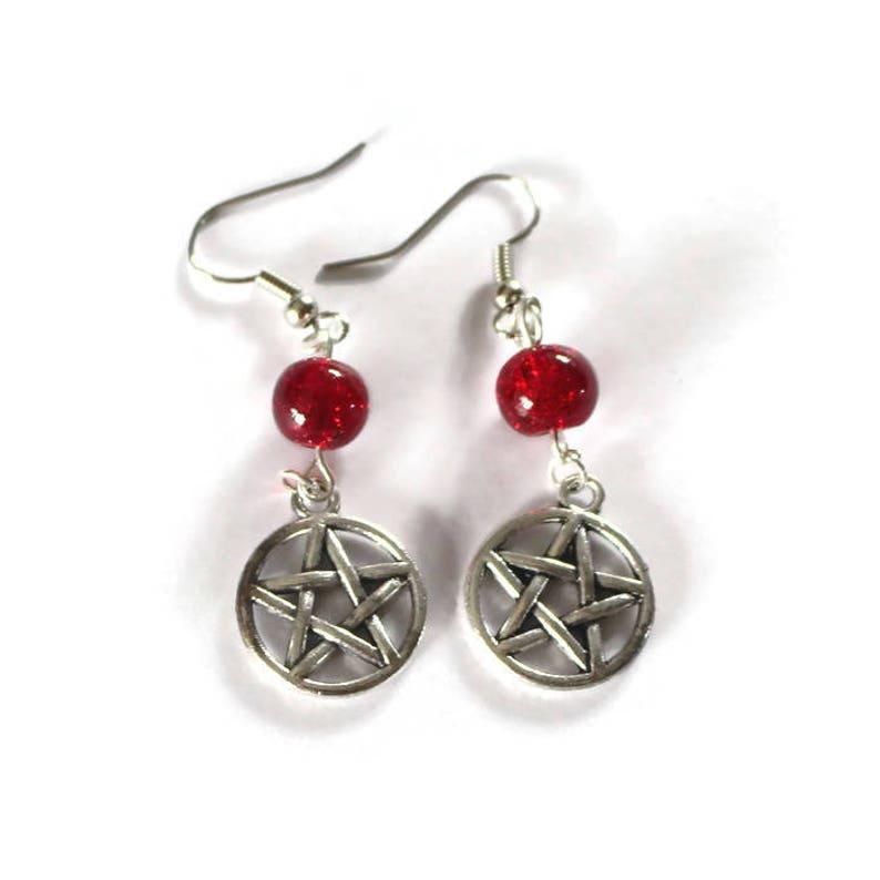 Supernatural inspired Earrings Pentacle image 0