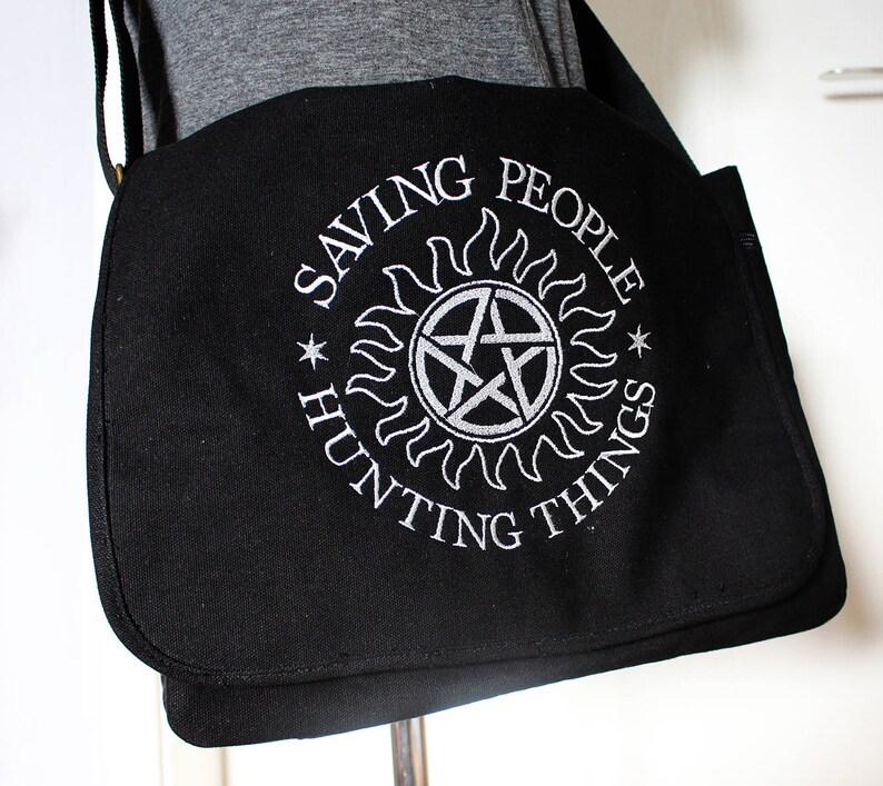 Supernatural inspired Canvas Messenger Bag image 0