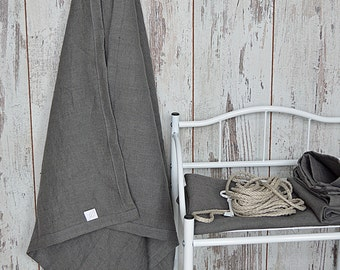 Bath thick Linen towel - Softened linen towel - Simple rustic bath towel - Stone grey linen towel - Guest bath linen towel