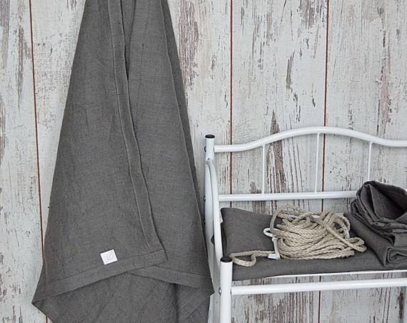 Bath thick Linen towel / Softened linen towel / Bath linen towel / Stone grey linen towel / Guest bath linen towel
