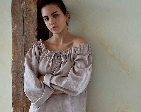 Linen romantic nightdress - Wood rose soft linen loungewear - Sizes XS-2XL - Pure linen sleepwear - Linen raglan night dress