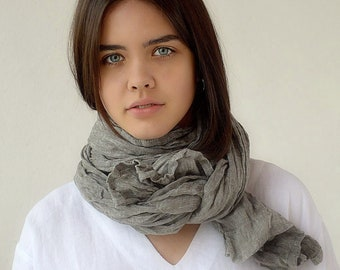 Pure linen scarf / Khaki grey melange linen scarf / Large natural linen scarf / Softened summer scarf / Gray woman's scarf