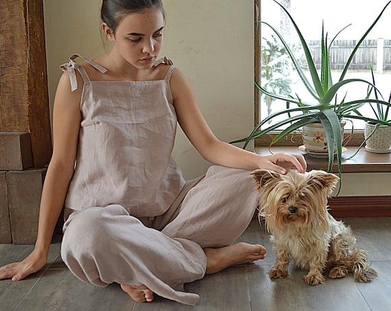 Linen pajama - Sizes XS-2XL - Linen loungewear - Women's soft linen sleepwear - Soft linen pyjama set - Linen Pajama Top and Pants