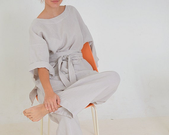Linen tunic and pants set - Linen tunic / kimono with a long belt - Linen trousers and tunic - Comfortable casual set