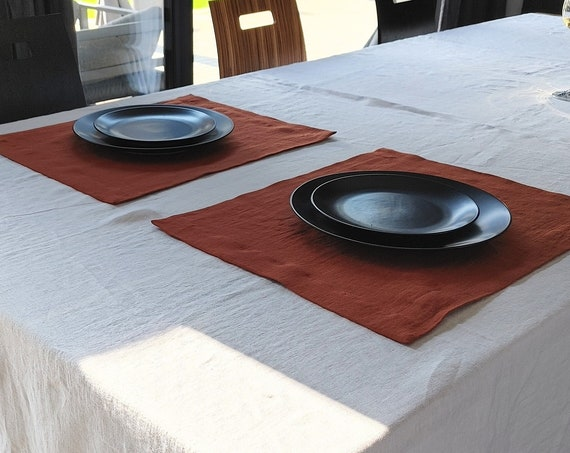 Linen placemats, terracotta table linen placemat set, placemats with mitered corners