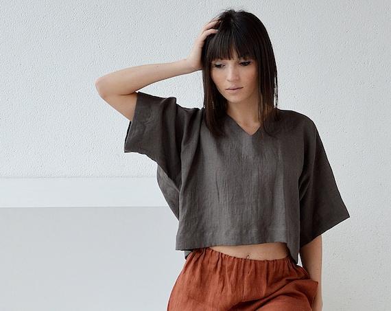 V-neck linen blouse /  Loose linen top / Oversize linen top / Dark linen blouse / Casual linen top