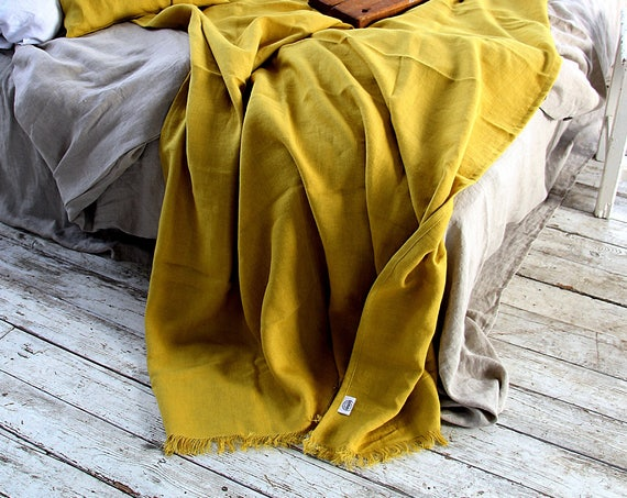Mustard linen throw / Linen throw blanket / Heavy weight linen blanket / Softened thick coverlet / Summer blanket