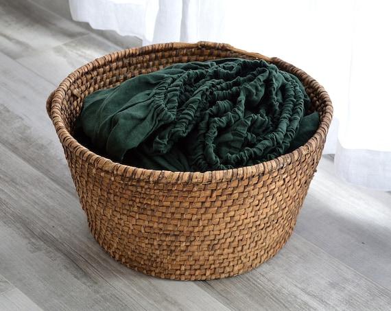 Linen fitted sheet / Stonewashed linen bedding /Dark emerald linen sheet / Queen King sheets / 100% linen bed sheet  / Child's sheet