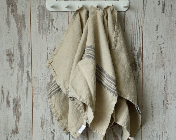 Thick linen towel / Striped linen towel / Heavy weight vintage towels / Natural towel / Washed soft linen towel / Guest towels