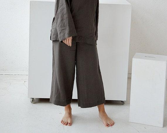 Linen culottes pants / Loose linen pants / Midi flared linen pants / Soft linen trousers / Weathered wood pants / Washed linen pants