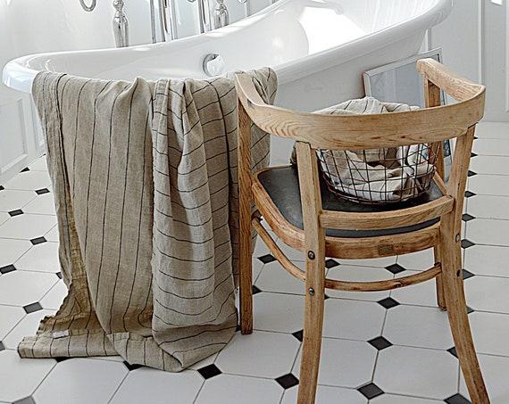 Linen bath sheet / Linen bath towel / Stonewashed linen SPA sheet / Thick striped linen sheet / Linen XXL sauna / yoga towel