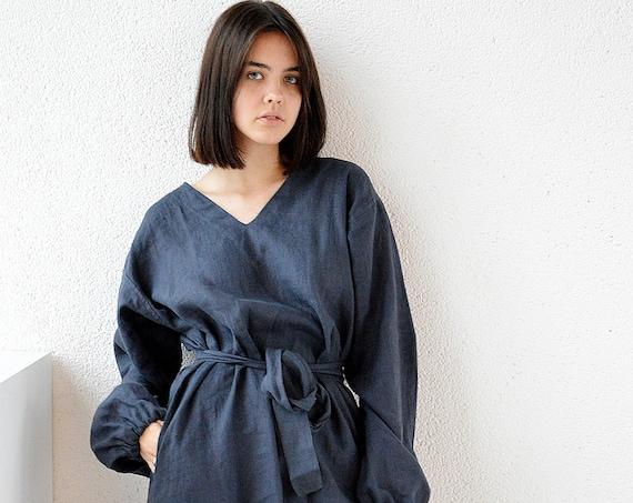 Midi linen dress / Long sleeve dress / V-neck dress / Midnight blue dress / Woman's dress / Linen clothing / Сomfortable dress
