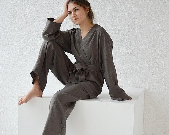 READY to ship / XS size / Linen kimono and pants set / Weathered wood linen suit / Kimono jacket / Loose kimono and pants