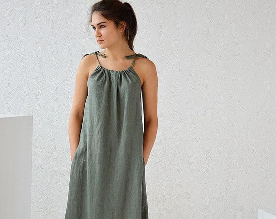 Long linen dress / Linen clothing / Handmade dress / Soft linen dress with regulating straps / Dress with pocket
