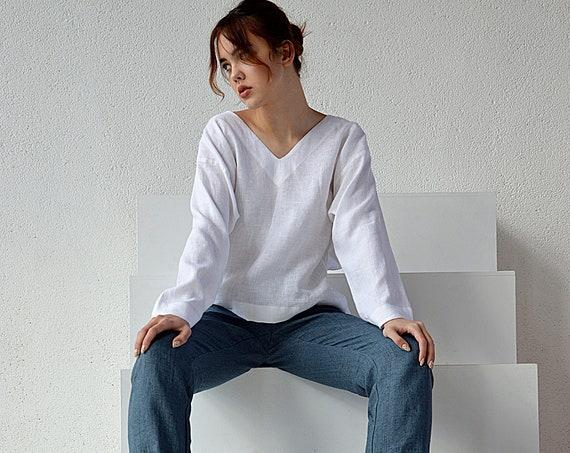 Linen V-neck top / White linen blouse / Oversize long sleeve blouse / Washed linen blouse / Soft linen casual top