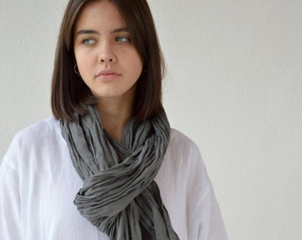 Linen scarf / Antracit linen scarf / Large gauze linen scarf / Softened summer scarf / Grey scarf