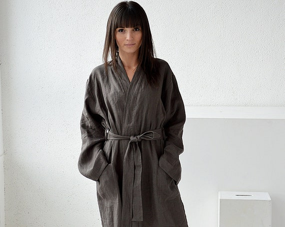 Weathered wood linen morning robe - Long robe with pockets - Long linen bathrobe - Linen loungewear
