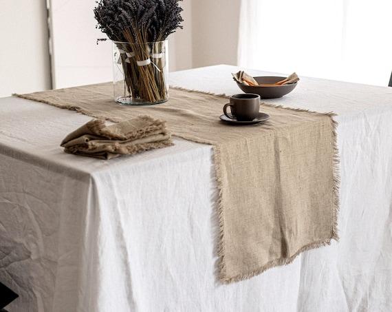 Linen table runner / Natural undyed linen / Fringed table runner / Table linen / Rustic linen table runner / Heavy weight table runner