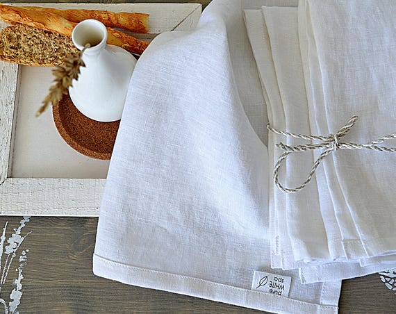Set of linen napkins - Dinner linen napkin set of 4, 6, 8, 10, 12 - White napkins  - Softened handmade napkins