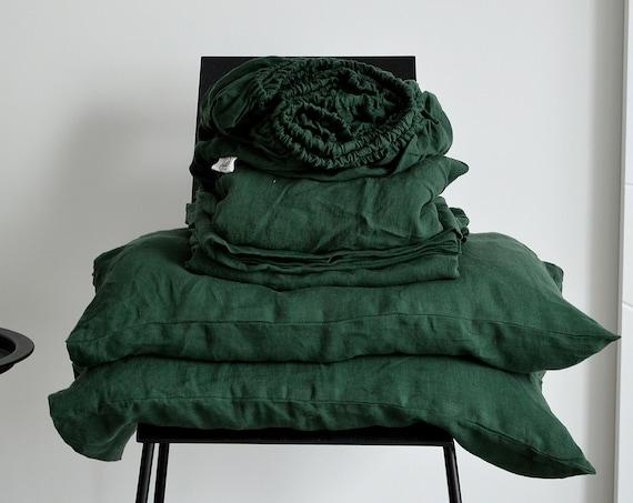 Linen sheet set / Soft linen bedding / 4 pcs. set / Dark emerald linen / King size Queen size / Stonewashed linen bedding / Child's bedding