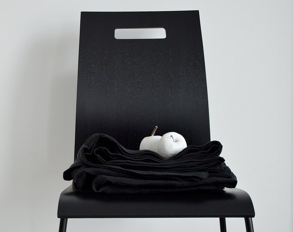 Deep black linen flat sheet / linen bedding / Black linen bedding / natural bedding / flat sheet