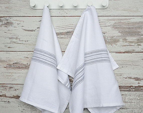 Thick linen towel / Striped linen towel / Heavy weight linen towels / Snow white towel / Washed soft linen towel / Guest towels
