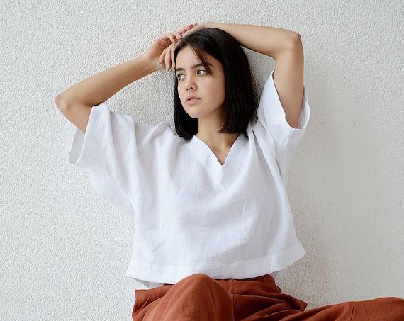 Kimono linen top / V-neck top / Oversize linen blouse / Pure white linen blouse /  Casual linen top