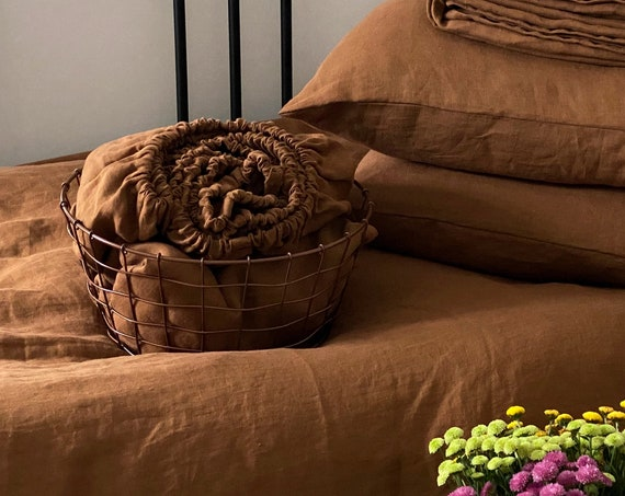 HEMP fitted sheet cinnamon,  Stonewashed hemp sheet, Natural hemp sheet, Queen King fitted sheet
