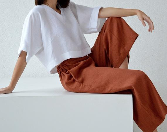 READY to ship / L size / Linen pants / Culottes linen pants / Terracotta linen culottes pants