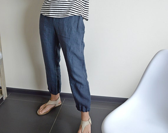 Linen pants - breeches with pockets - Midnight blue linen pants - Washed women linen trousers