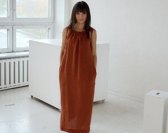 Linen dress with pockets / Terracotta long linen dress / Handmade dress / Soft linen dress with regulating straps