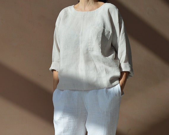 READY to ship - XL size - Linen loose top - Oversize blouse - Ivory top - long sleeves top - Soft linen casual top