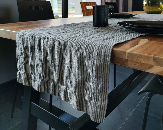 Linen table runner, Striped table runner, Rustic table runner with mitered corners