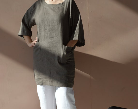 READY to ship / XL size / linen tunic / weathered wood linen tunic / tunic with pockets / loose linen tunic