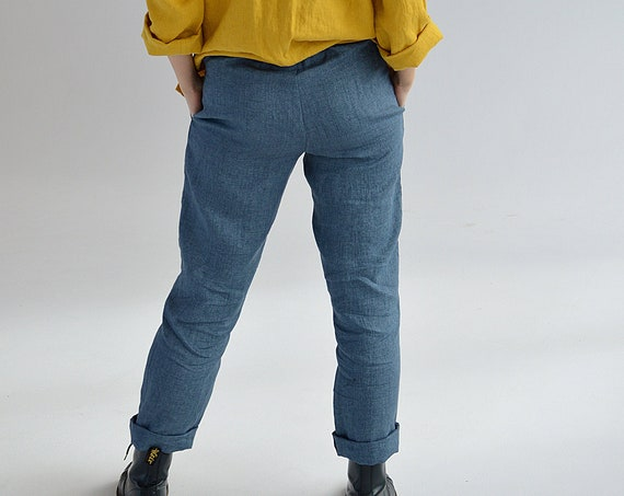 READY to ship / M size / Denim linen pants / Linen pants with pockets / Long linen pants / Soft linen casual pants