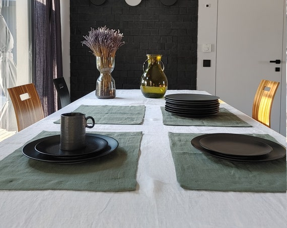 Linen placemats, table linen placemat set, placemats with mitered corners