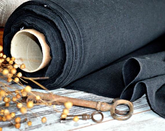 Black linen fabric / Softened linen fabric / Heavy weight fabric / European linen fabric / A - 002 Deep black color