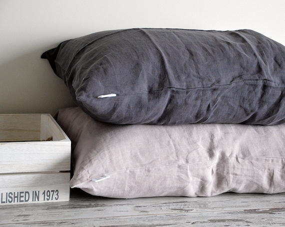 Softened linen pillowcase / Stonewashed bed pillowcases / Envelope closure pillow covers / Simple linen pillowcase / Soft linen bedding