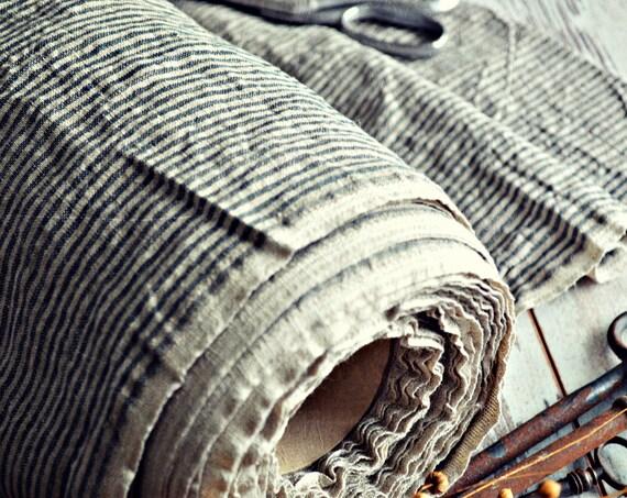 Linen fabric / Half meter / Striped linen fabric / A-016 natural / Stonewashed linen fabric / Baltic linen fabric / Europian linen