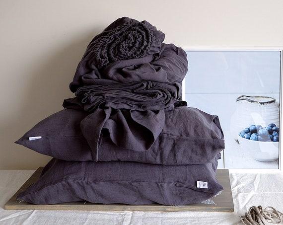 Linen sheet set / flat sheet / fitted sheet / 2 pillow cases / Grayish eggplant linen bedding / King size Queen bedding / Child's bedding