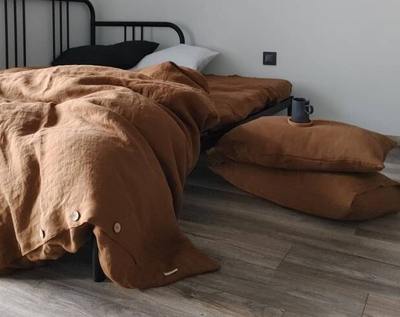 HEMP bedding set of 3, duvet cover and 2 pillowcases, Cinnamon Hemp bedding set, hemp duvet cover