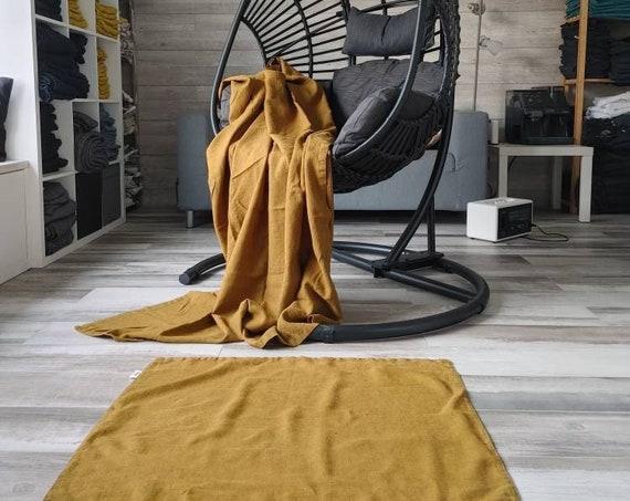 Rustic linen rug - Double-layered feet mat - Rough thick linen bath mat - Natural undyed Bath linen rug - Natural rug