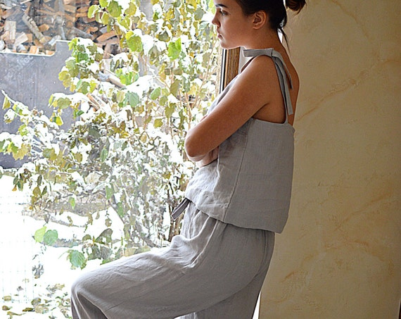 Linen loungewear - Women's soft linen pajama - Light grey linen sleepwear - Soft linen pyjama set - Linen Pajama Top and Pants