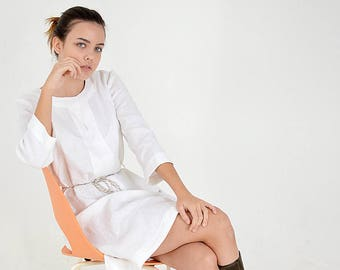 SALE! - Ready to ship - Size M - Linen white dress - Linen dress with linen belt - Women's Linen dress with  3/4 long sleeves