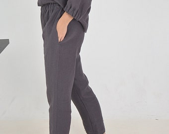 Linen pants with pockets - Brownish eggplant linen pants - Women's Linen pants - Soft linen casual pants -  Washed women linen trousers