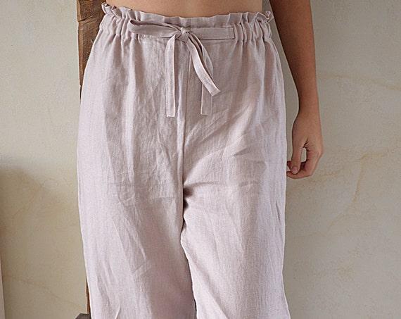 READY TO ship / XXL size Linen Pajama pants /  Linen loose pants / Wood rose linen pants