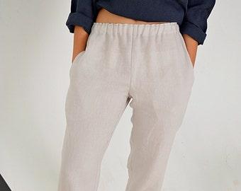 Ivory linen pants - Linen pants with pockets - Women's Linen pants - Soft linen casual pants -  Washed women linen trousers