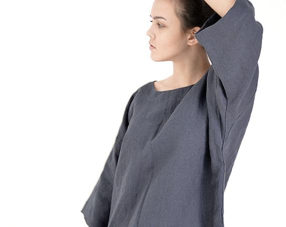 Linen oversize tunic - Midnight blue Linen tunic - High-quality linen tunic dress -  Comfortable casual tunic  - Loose tunic