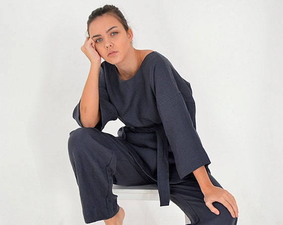 Linen tunic and pants set / Midnight blue Linen tunic / Comfortable linen tunic and pants / Casual tunic / Casual pants